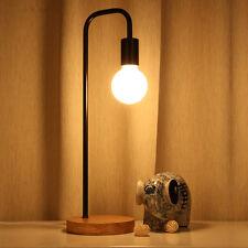 Modern Bedside Table Lamp Desk Light Wooden Base Home Cafe Bedroom Decor