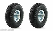 "2 Pack 10 ""PU sack truck roue 4.10 / 3.50 - 4 Offset 16mm portant METAL centre"