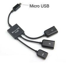 3 in 1 Micro USB OTG Hub Host Extension Adapter Cable For Android Phone / Tablet