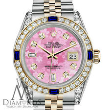 Rolex 36mm Datejust Watch Pink Flower Color Dial with Sapphire & Diamond Bezel