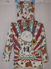 Lucky Brand XS Floral SHIBUYA LUCKY MANEKI-NEKO WELCOMING Japanese CAT Hoodie
