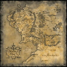"ken 003 Map of Middle Earth Lord Of The Rings - Hobbit Movie 24""x24"" Poster"