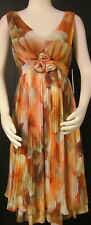 NEW Womens Ladies ARGENTI Orange & Multi Floral Silky Sleeveless Dress  6 $108