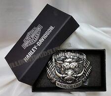 Men's Harley Davidson Buckle Hog Ride or Die with Dual American Flags