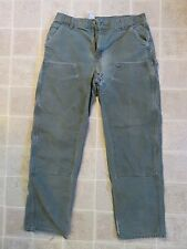 Used CARHARTT Dungaree PANTS 36x34 Double Thick Front Carpenter Crust Punk Patch