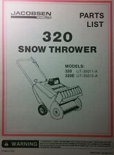 Jacobsen Snow Blower Parts Manual 8pg Thrower 320 320E UT-35011-A 35012 2-Stroke