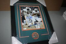 1972 DOLPHINS LARRY LITTLE & MERCURY MORRIS DUAL SIGNED FRAMED 8X10 PHOTO JSA