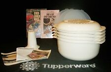 Tupperware NEW 11 piece ALMOND microwave Stack Cooker COMPLETE +2 Cook Books NOS