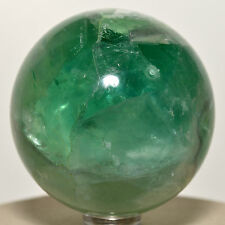 "2.2"" Rainbow Green Fluorite Sphere Natural Crystal Polished Mineral Stone China"