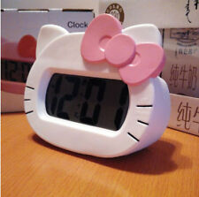 Hello Kitty Alarm Clock Screen LED Silent Digital Backlight Desk Alarm Clock