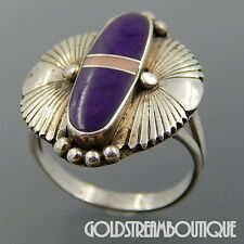 BENSON SAM NAVAJO STERLING SILVER SUGILITE PINK SHELL ETHNIC SHIELD DESIGN RING