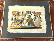 "Vintage Papyrus Art Egyptian Queen Hieroglyphs 21 1/4"" X 17"" Framed With Glass"
