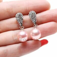 Light Pink Round Sea Shell Pearl Gold Plated Zircon Paved Drop Dangle Earrings