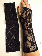 VINTAGE STYLE NET BLACK LACE LONG FINGERLESS GLOVE CLASSICAL WEDDING STEAM PUNK