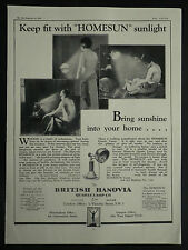 British Hanovia Quartz Lamp Sun Lamp 1929 Page Ad Advertisement 6577