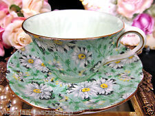 SHELLEY TEA CUP AND SAUCER FOOTED OLEANDER SHAPE MARGUERITE  PALE GREEN TEACUP