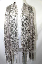 B77 Oval Metallic Silver Sequin Lace Scallop Boutique Shawl Scarf Wrap