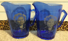 Vintage Shirley Temple Cobalt Blue Glass Greamers Pitchers Set of 2