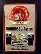 GUINNESS And OYSTERS Vtg Metal Pub Sign 3D Embossed Steel Decor,Irish