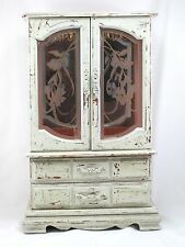 JEWELRY ARMOIRE CHEST MADE OF WOOD CASE ETCHED GLASS DOORS TWO DRAWERS EXCELLENT