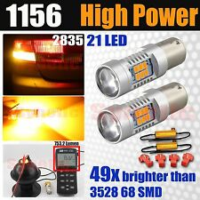 1156 High Power 2835 750LM LED Bright Amber Yellow Turn Signal Lights +Resistors