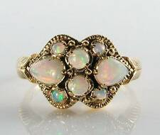 CLASS  9CT GOLD VICTORIAN INS FIERY OPAL TEAR DROP RING  FREE RESIZE
