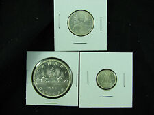 1963 Canada dollar brilliant UNC 1963 25 cents BU 1963 10 Cents BU