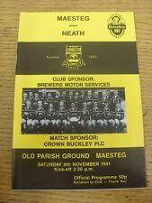 09/11/1991 Rugby Union Programme: Maesteg v Neath (folded). Footy Progs/Bobfrank