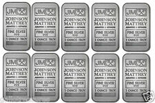 Ten JM JOHNSON MATTHEY Fine Silver 999 1 Ounce Troy Bar