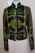 Etro Green Yellow Blue Wool & Alpaca Geometric Tailored Cardigan Sweater SZ 40
