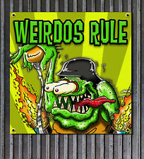 Rat Fink Style Weirdo vinyl garage sign shop banner Rat Rod Man Cave art Ed Roth