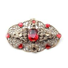 Vintage Czech Art Deco filigree floral pin brooch element red glass rhinestones