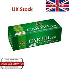 200x King Size CARTEL Menthol Cigarette Tubes-Make Your Own Like Rizla