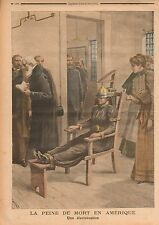 Peine de Mort Death Penalty by Electrocution United States USA 1899 ILLUSTRATION