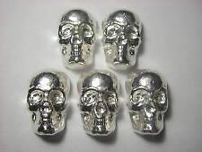 Lot of 5 / 3D Skulls - Beaver Bullion hand poured Cdn 1 troy oz 999 fine silver