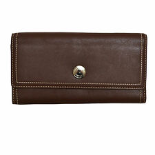 Coach Slim Envelope Wallet Hamilton Mahogany Purple Snap F42981 Brown Leather