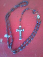 ANCIEN BEAU CHAPELET CROIX RELIGION JESUS ,perle bois,croix en bois et argent