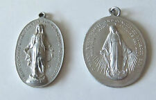 Lot of 2 Vintage Religious Large Medals Miraculous Virgin Mary Queen Saint Vtg