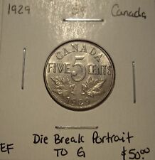 Canada George V 1929 Die Break Portrait to G Five Cents -  EF