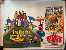 ORIGINAL 1968 YELLOW SUBMARINE UK QUAD POSTER LINEN BACKED RESTORED THE BEATLES
