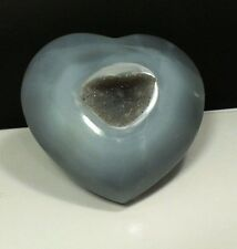 Agate Heart with Druzy Quartz Crystal Centre (EA817) Gem Carving Gift Gem