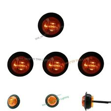 "4X 12V DC Round Side Amber 1-1/4"" inch Clearance Marker Truck Boat Light Grommet"