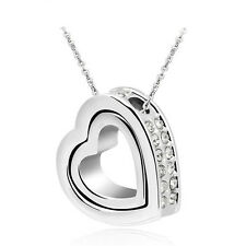 NEW Fashion Double Heart Clear Crystal Charm Pendant Chain Necklace Silver IO19