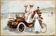 1908 Car Postcard: Women Driving Automobile w/Dog by the Sea - Brushton, NY