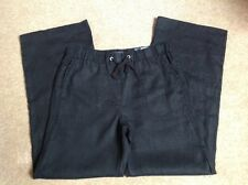 MARKS AND SPENCER BLACK LINEN TROUSERS WIDE LEG SIZE 12 BRAND NEW WITH TAGS