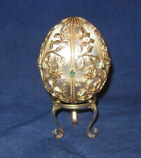 Faberge Emergence of Spring Sterling and Gold Egg with Stand