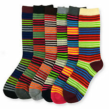 6 Pairs Womens Striped Socks Size 9-11 New Rainbow Vivid Colored Crew Length Lot