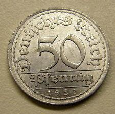 1920 A 50 PFENNIG GERMAN WEIMAR REPUBLIC ALUM COIN