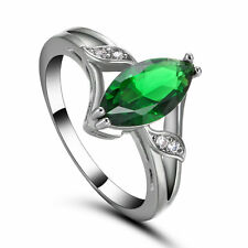 New Claw Ring Size 7.5 Green Emerald Women's 10Kt White Gold Filled Wedding Gift