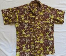 Hawaiian Sports Shop Ft Lauderdale Sz M Brown Yellow Hawaiian Aloha Shirt VTG